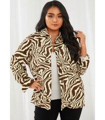 abrigo de manga larga con cuello de solapa de talla grande yoins