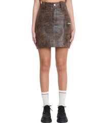 ganni skirt in brown leather