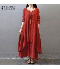 zanzea boho maxi largo del vestido de las mujeres sólido ocasional del algodón del tamaño de lino vestidos plus floja elegante de la manga completa con cuello en v vestido de color rojo ladrillo -rojo