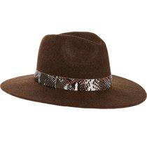 women's treasure & bond snakeskin print trim wide brim wool panama hat - brown