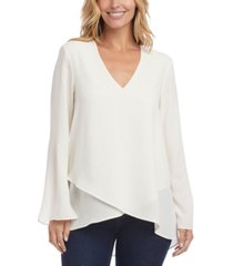 karen kane crossover-hem sleeve-slit top