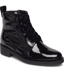 biatine patent laced up boot shoes boots ankle boots ankle boots flat heel svart bianco