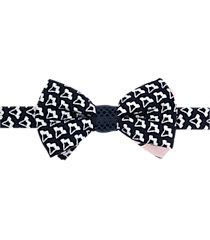 paisley & gray pre-tied bow tie navy & white patterned