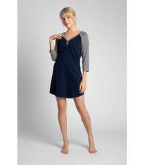 pyjama's / nachthemden lalupa la018 katoenen colourblock sleepshirt - ecru