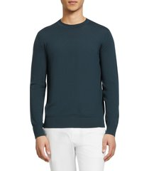 men's theory regal crewneck sweater, size small - blue