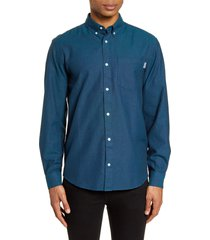 men's carhartt work in progress dalton oxford button-down shirt, size x-large - blue