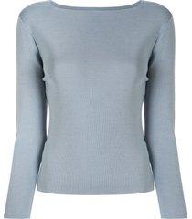 des prés boat-neck silk pullover - blue