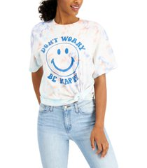 junk food women's cotton be happy-graphic tie-dyed t-shirt