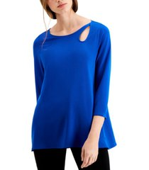 alfani keyhole-cutout 3/4-sleeve top, created for macy's