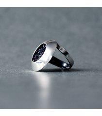 srebrny pierścionek regulowany z karborundem