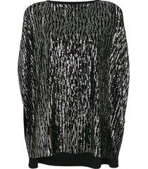 talbot runhof sequin tunic top - black