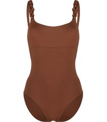 eres woven-strap one-piece swimsuit - brown