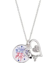 "fine silver plated peanuts ""snoopy"" americana fireworks heart pendant necklace, 16""+2"" for unwritten"