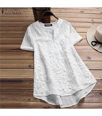 zanzea mujeres más tapa del tamaño floral tee camiseta con cuello en v de la llamarada básico sólido túnica de la blusa -blanquecino