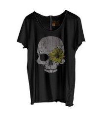 camiseta my t-shirt corte à fio caveira girassol preta