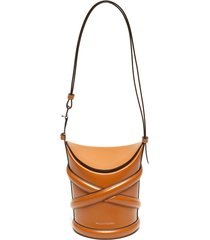 'the curve' crisscross detail small leather bucket tote