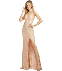 mac duggal sequined v-neck gown