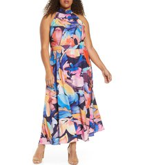 plus size women's tahari halter neck midi dress