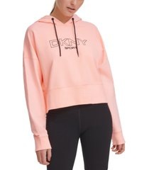 dkny ombre-logo cropped hoodie