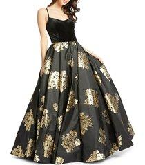 mac duggal women's floral-print velvet ball gown - black gold - size 8