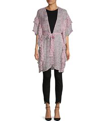 ruffled floral-print belted topper