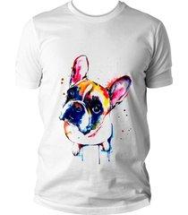 camiseta criativa urbana bulldog cachorro wallpaper colorido branca
