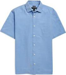 pronto uomo light blue check short sleeve sport shirt