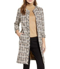 anne klein plaid topper coat, size 12 in vicuna combo at nordstrom