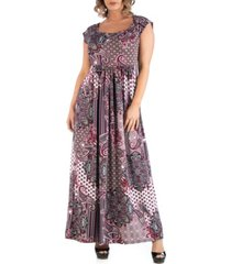 24seven comfort apparel women's plus size empire waist paisley maxi dress
