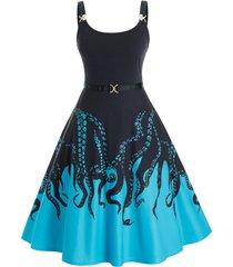 plus size octopus print a line midi dress