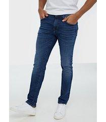 selected homme slhslim-leon 6212 mblue su-st jns w jeans blå