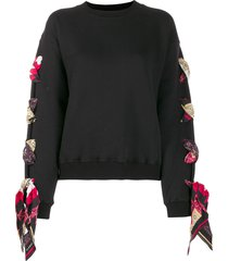 alanui woven scarf sweatshirt - black