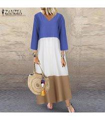 zanzea mujer de manga larga con cuello en v vestido maxi largo remiendo de cuerpo entero vestido más del tamaño -azul