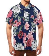 camisa de vacaciones de verano bohemio de playa con estampado tropical de algodón para hombres