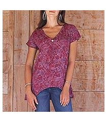 rayon batik blouse, 'wine floral' (indonesia)