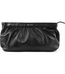 isabel marant black leather laz clutch bag