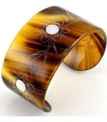 bracelete tudo jóias artesanal chifre marrom