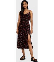 vestido missguided cami cowl slip split dress floral  negro - calce regular