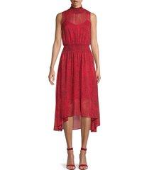 nanette nanette lepore women's cheetah-print chiffon blouson dress - red black - size 10