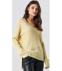 na-kd trend deep v neck wool blend sweater - yellow