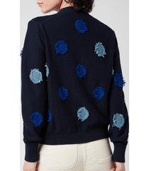 ps paul smith women's tagliatelle spot knitted cardigan - blue - it 44/uk 12