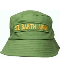 green hat with applied patches