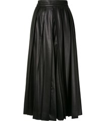 goen.j faux leather pleated wide-leg trousers - black