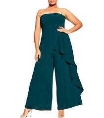 plus size women's city chic attraction strapless jumpsuit