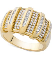 diamond wide statement ring (1/2 ct. t.w.) in gold-plated sterling silver