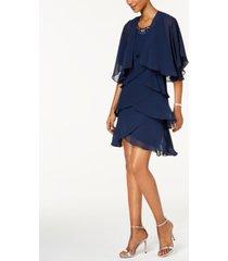 sl fashions embellished tiered chiffon dress & capelet