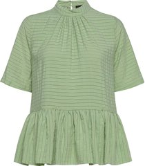tolu, 855 striped rayon blouses short-sleeved groen stine goya
