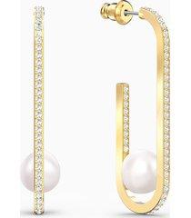 orecchini so cool pearl, bianco, placcato color oro