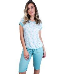 pijama mvb modas pescador adulto  blusinha e calã§a curta verde - verde - feminino - poliã©ster - dafiti