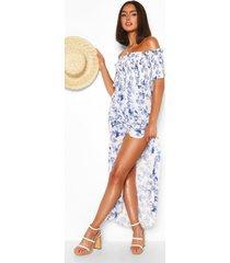 geplooide bloemenprint maxi wikkel jurk met open schouders, white